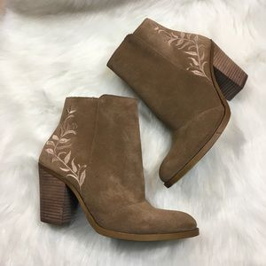 Lucky Brand Suede Eleanor Embroidered Ankle Boots